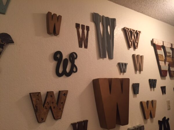 "Corrugated tin letter ""W"""