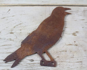 Mounted Rusty metal crow 1