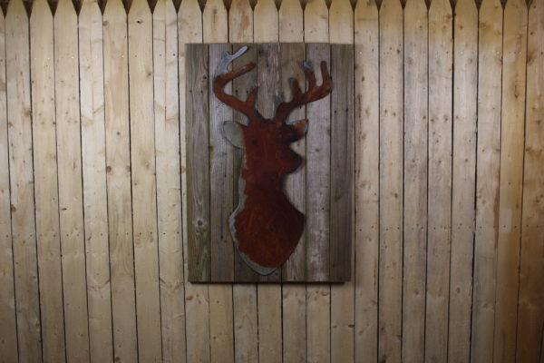 Buck Head On Wood Back Rustic Metal Letters Amp Wall Art