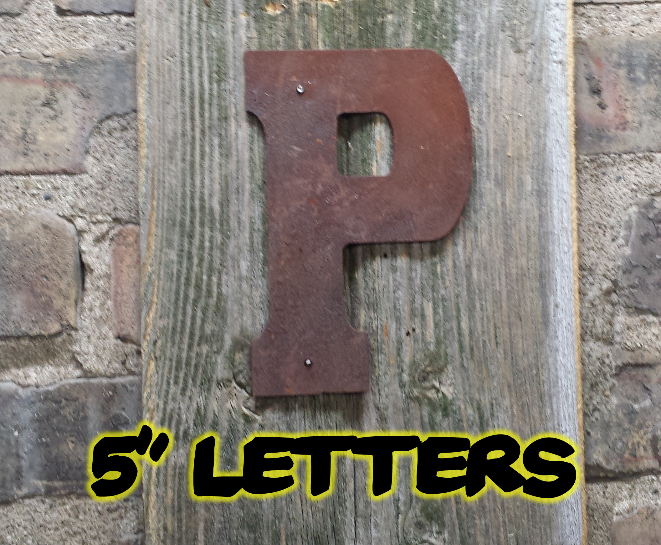 Tin Letters And Numbers 5″ Rusty Flat Letters  Rustic Metal Letters & Wall Art