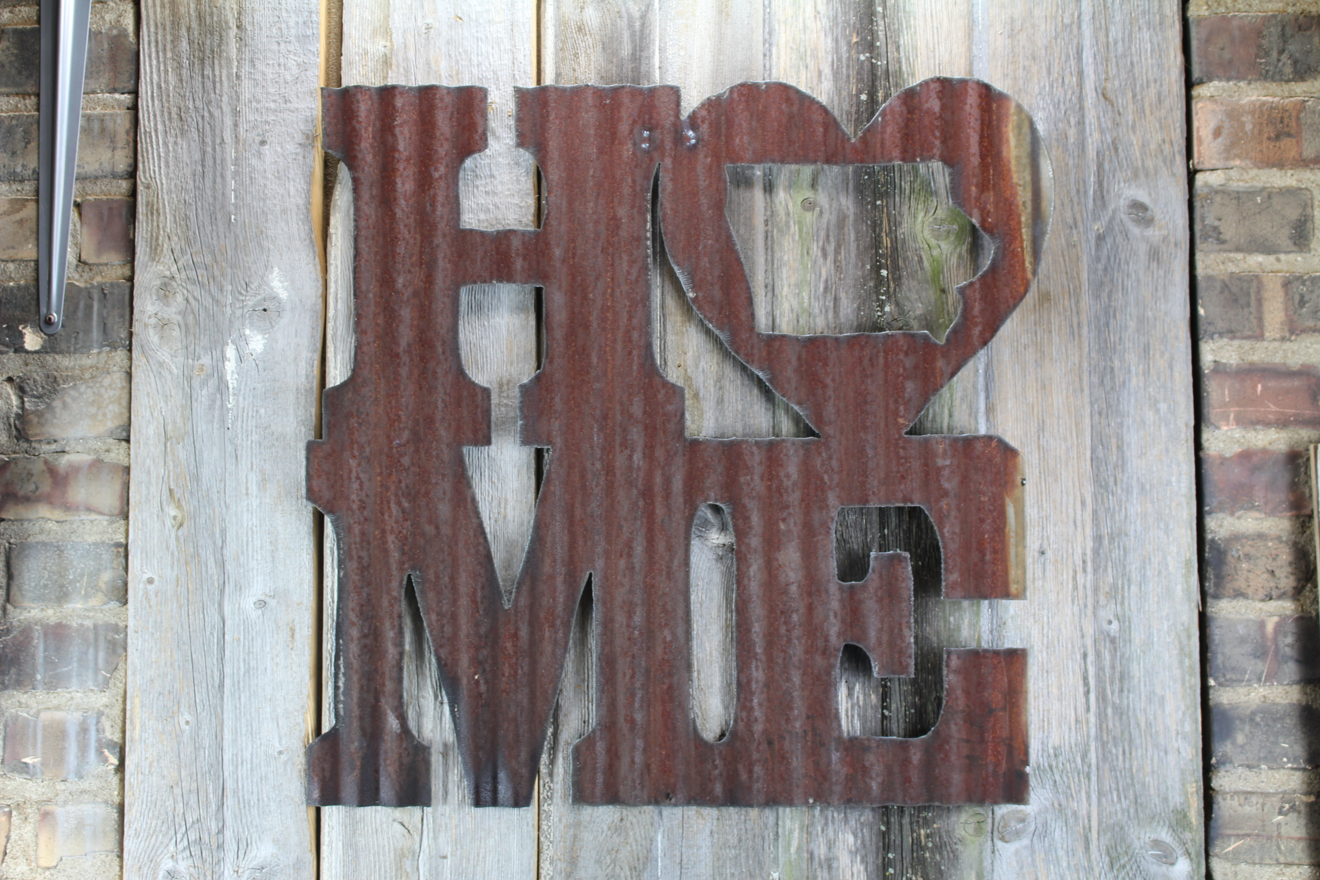 Rusty Tin Home W State Cutout Rustic Metal Letters