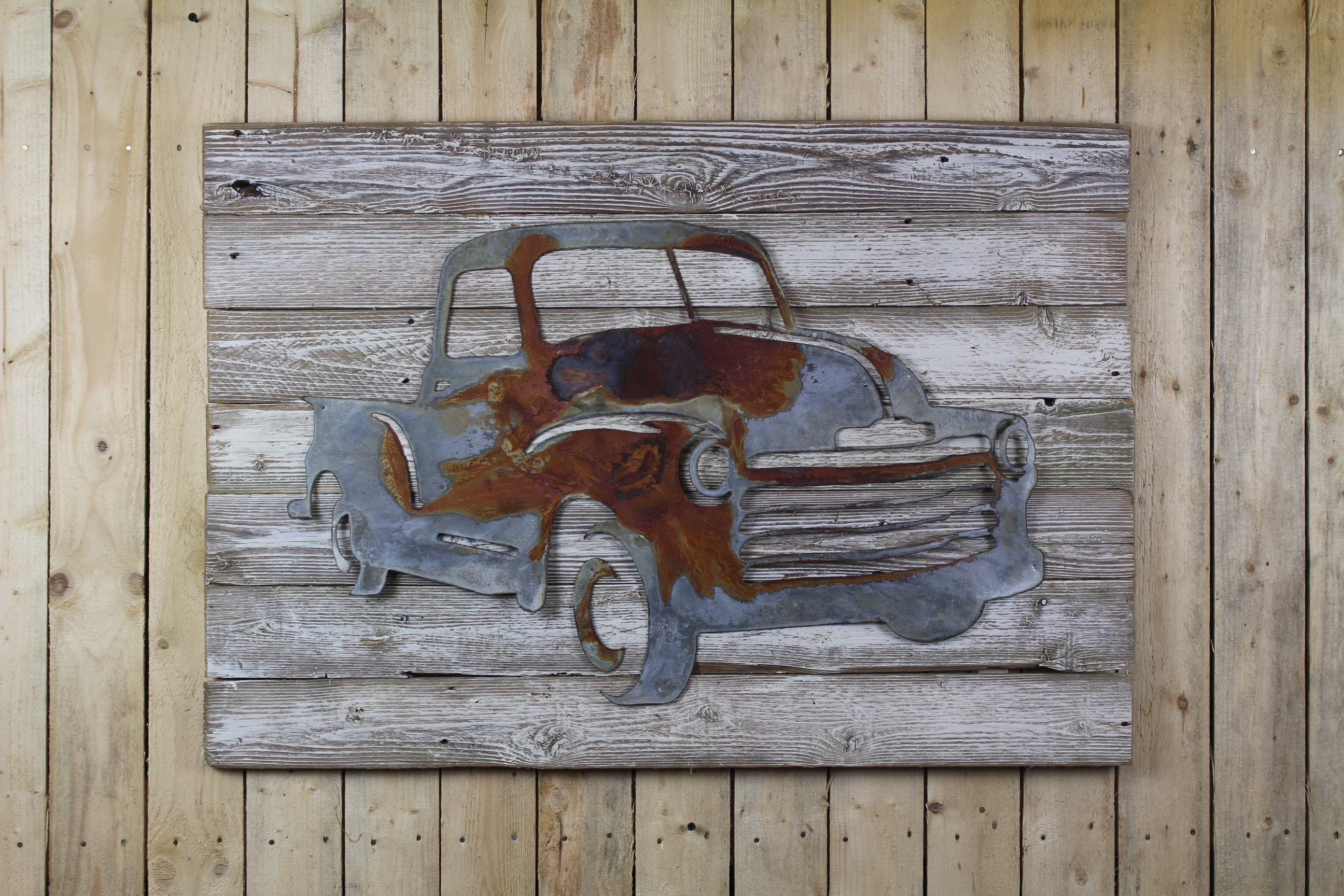 Metal Letters On Wood Truck On Wood Back  Rustic Metal Letters & Wall Art