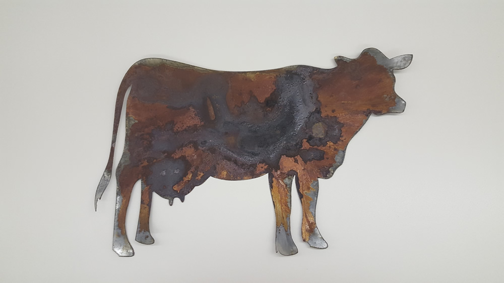 Thin Rusty Metal Cow Bessie Shape Only Rustic Metal