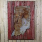 Rustic state shape on painted woodback