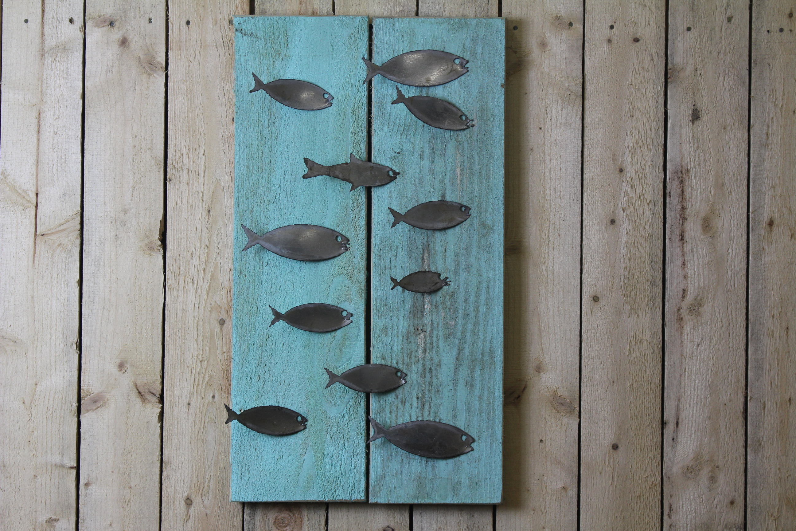 School of Fish on Wood Back – Rustic Metal Letters & Wall Art
