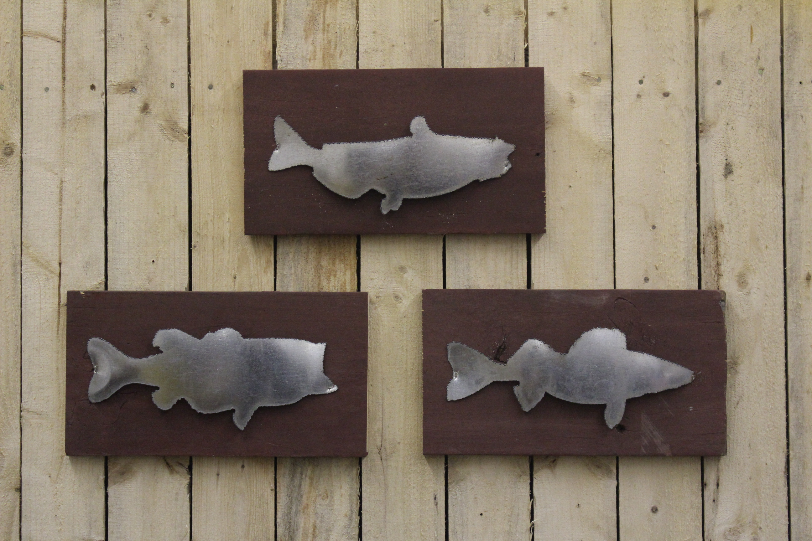 Small Rustic Metal Letters Mounted Fish  Small  Rustic Metal Letters & Wall Art