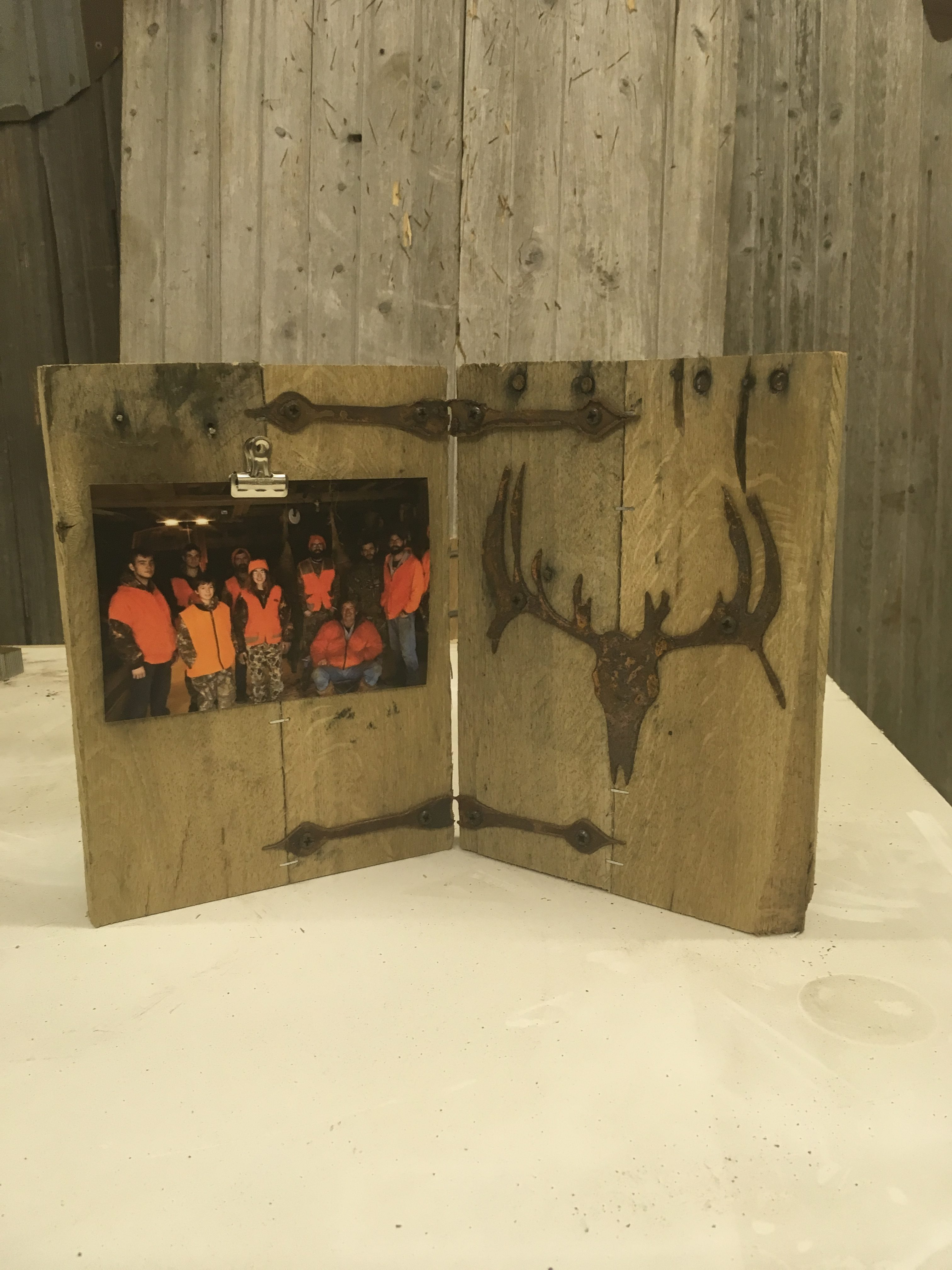 Hunting Picture Freestanding Frame Buck Skull Rustic