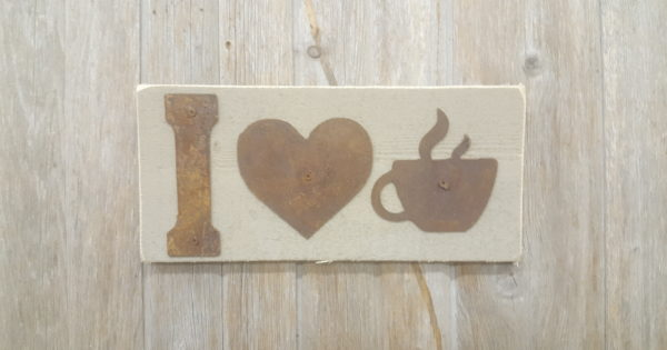 Rustic Letters Wall Decor : I love coffee rustic metal letters wall art