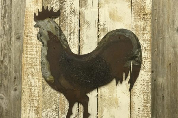 Rooster on wooddback