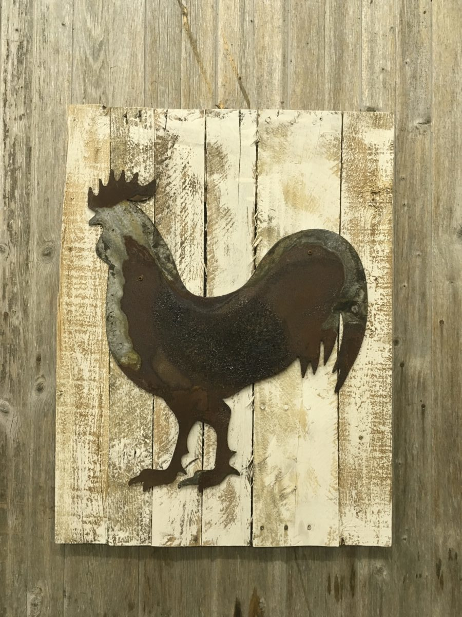 Thin Rusty Metal Rooster on wood back – Rustic Metal Letters & Wall Art