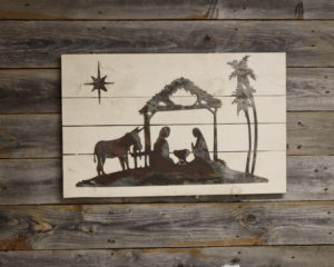 Nativity on woodback