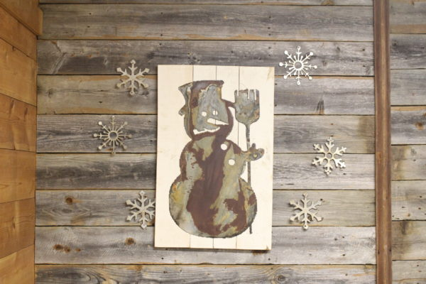 Snowman on wood back
