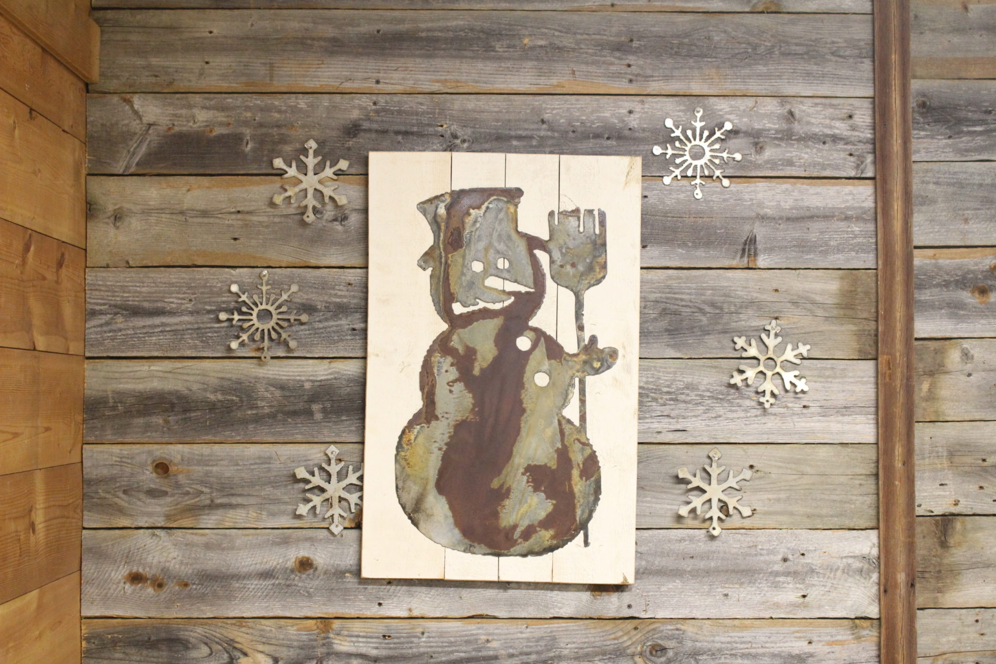 Snowman on wood back