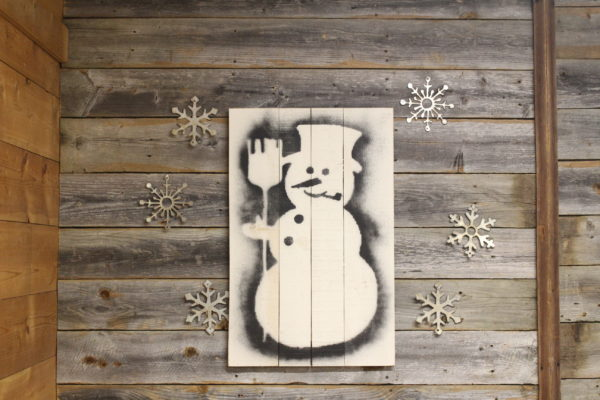 Snowman Stencil on Wood back