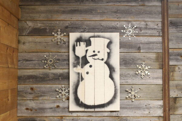 Snowman Stencil on Wood back
