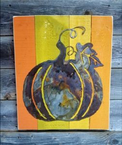 Pumpkin on Wood - Rustic Decor